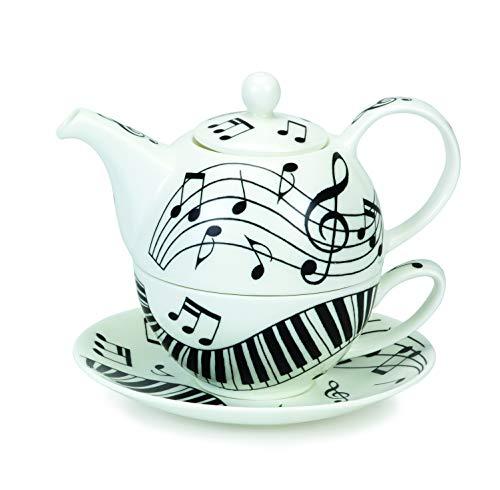DUNOON Tea for ONE - Set: Kännchen, Tasse m. Untertasse Ebony & Ivory In Geschenkbox