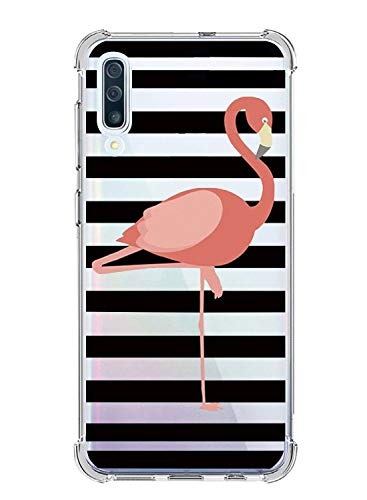 Oihxse Shockproof Case Compatible with Samsung Galaxy A8 Plus 2018, Crystal Clear Fashion Design Ultra Thin [Air Cushion Drop Protection] Silicone Gel Bumper Cover for Galaxy A8 Plus 2018,Flamingo