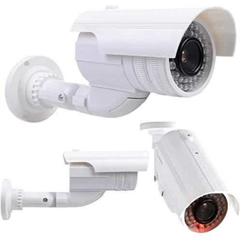 2 telecamere di sorveglianza Dummy Fake con obiettivo con LED lampeggiante, impermeabile, per interni ed esterni, di alta qualità