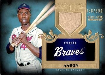 2011 Topps Tier One Tops Shelf Relics #TSR44 Hank Aaron Game Worn Jersey Baseball Card - Only 399 made!