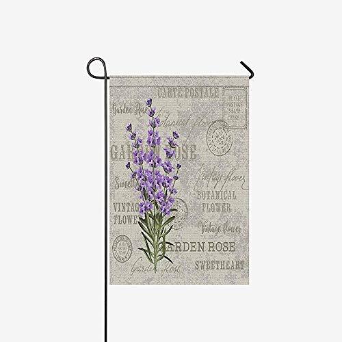 Huis Decoratieve Vlaggen, Seizoensgebonden Tuin Vlag Banner, Home Yard Decor Vlag,Elegante Ansichtkaart Lavendel Bloemen Vintage Bloemen Outdoor Vlaggen Voor Feest, Verjaardag, Bruiloft