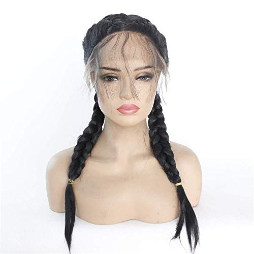wig Chemical fiber front lace hood natural black wig double ponytail handmade fish bone scorpion