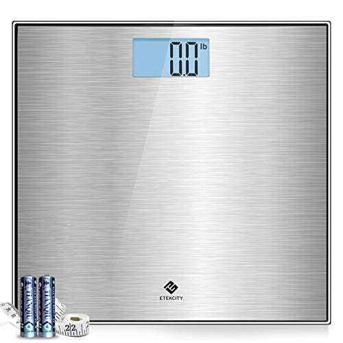 Etekcity Stainless Steel Digital Body Weight Bathroom Scale, Step-On Technology, Large Blue LCD...