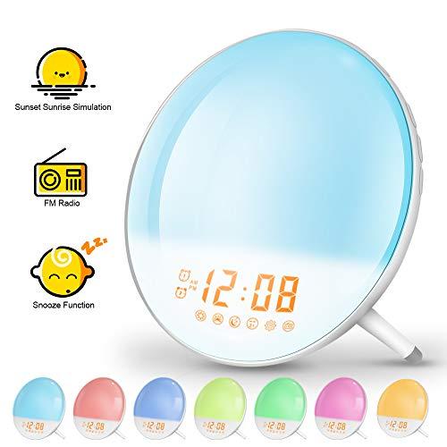 solawill Lichtwecker, Wake Up Light Sonnenauf-untergang Simulation Wecker mit 7 Wecktöne FM Radio Snooze Funktion 7 Farbige 20 Dimmstufen Touch Control Nachttischlampe für Erwachsene und Kinder