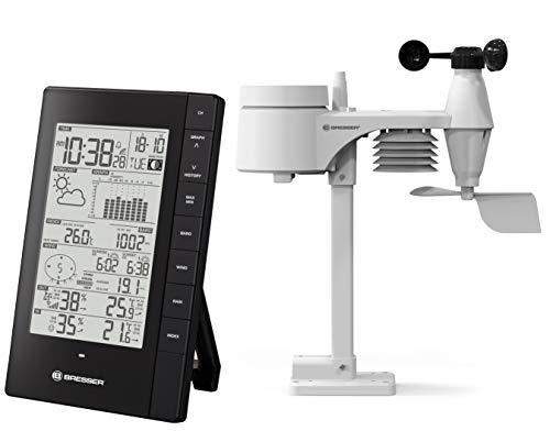 Bresser 5-in-1 PC Wetterstation Funk mit Außensensor für Temperatur, Luftfeuchtigkeit, Windgeschwindigkeit- und Richtung, Luftdruck und Niederschlag (Regenmesser)