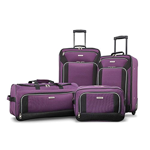 American Tourister Fieldbrook XLT Softside Upright Luggage, Purple/Black, 4-Piece Set (BB/DF/21/25)