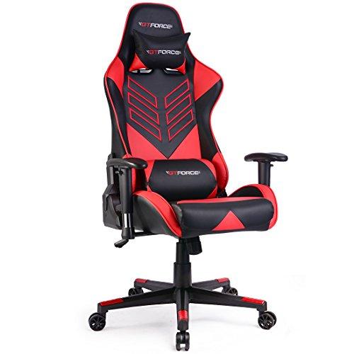 GTFORCE PRO ST - Gaming-Stuhl für E-Sport und Rennspiele - PC-Stuhl für das Büro - Liegepositionen - Kunstleder - Rot