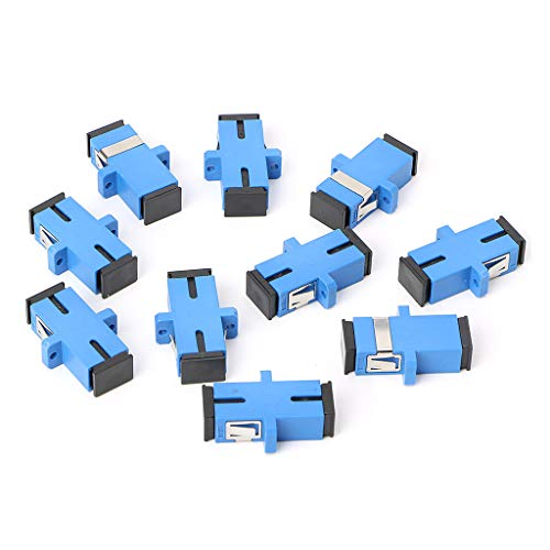 SHOTAY Adaptador de Fibra óptica, 10PCS SC/UPC Adaptador de Fibra óptica SC Brida de Fibra óptica Conector SC/UPC Azul