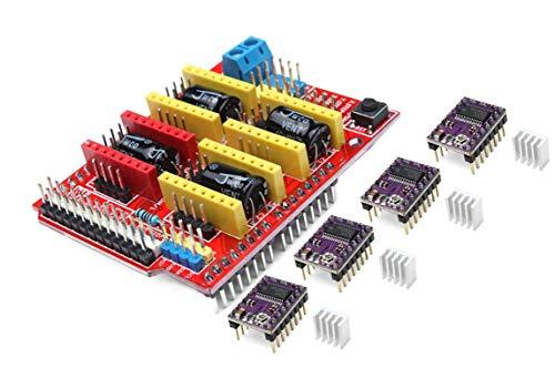 CNC Shield V3 Expansion Board + 4pcs DRV8825 Stepper Motor Driver for 3D Printer | Placa de expansión del escudo del CNC V3.0 + DRV8825 Motor del motor de pasos con disipador de calor para Arduino