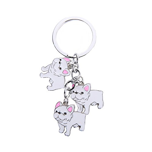 Mummumi Pet Keychain,Three Cute Dogs Pendant Style Lovely Jewelry Dog keying Bag Charm Metal Pet Key Ring for Birthday Gift (White French Bulldog)