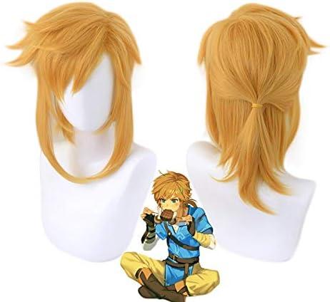 La leyenda de Zelda Breath of the Wild Link peluca de cola de caballo corta Cosplay disfraz pelo sintético resistente al calor hombres mujeres pelucas