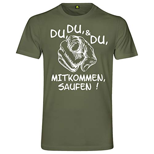 Du Mitkommen Saufen T-Shirt | Alkohol | Bier | Freunde | Party | Wodka | Vodka Militär Grün L