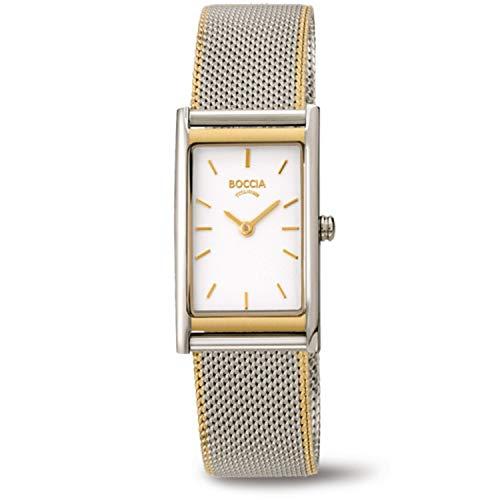 Boccia Damen Analog Quarz Uhr mit Edelstahl Armband 3304-02