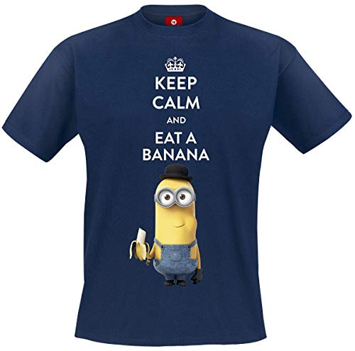 MINIONS Keep Calm and Eat A Banana T-Shirt Navy XL