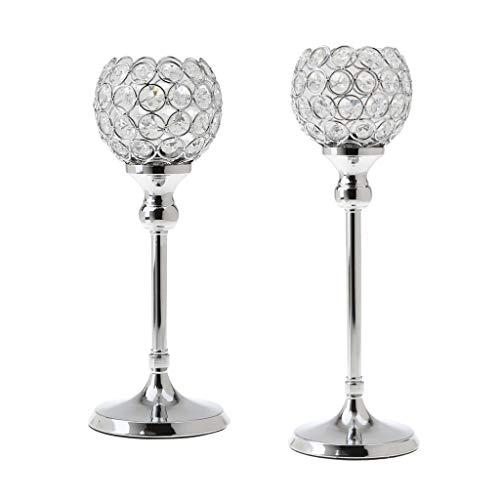 WWDD LWMNBHD 2 Stunning Metal Tea Wax Crystal Candle Holders Wedding Decoration Core 35 Cm + 30 Cm Silver tea lights