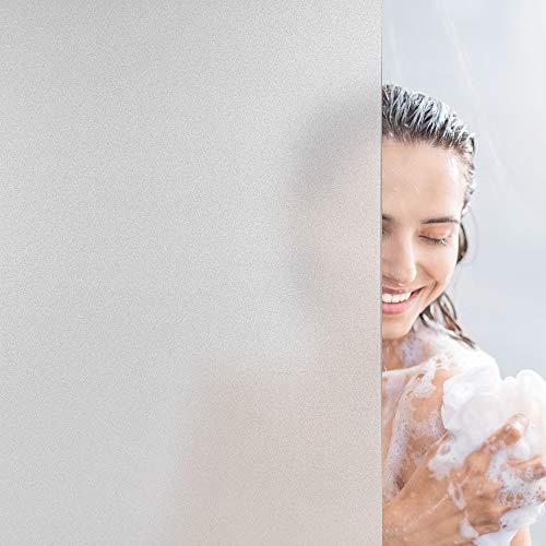Dktie Fensterfolie Selbsthaftend Blickdicht Milchglasfolie Sichtschutzfolie Fenster Anti-UV Folie Für Zuhause Badzimmer oder Büro Sichtschutz (White, 44.5 x 200 cm)