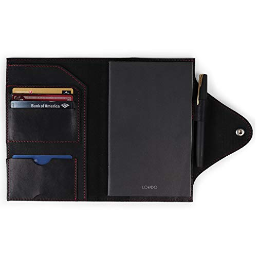 Londo OTTO418 Portafolios de Cuero Genuino con Cuaderno y Cierre a Presión (Negro, Medio)