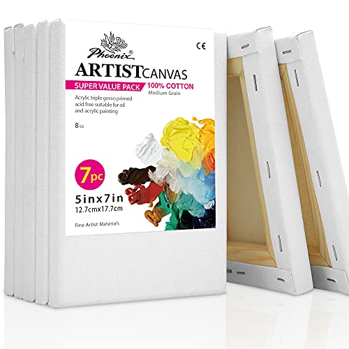 PHOENIX White Blank Cotton Stretched Canvas Artist Painting - 5x7 Inch / 7 Pack...