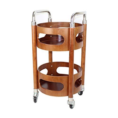 Tables basses Chariot à thé Double Chariot à vin Voiture à snacker en Bois Chariot de Service Mobile (Color : Brown, Size : 40 * 40 * 83cm)