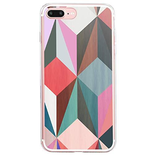 Compatible con iPhone 7 Plus, carcasa de silicona suave, ultrafina, elegante diseño de mármol, 360 grados, protección para teléfono móvil, antiamarillo, anticaída, resistente al polvo 3 talla única