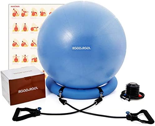Yoga Ball Chair, RGGD&RGGL Exercise Ball with Leak-Proof Design, Stability Ring&2 Adjustable Resistance Bands for Any Fitness Level, 1.5 Times Thicker Swiss Ball for Home&Gym&Office&Pregnancy (65 cm)