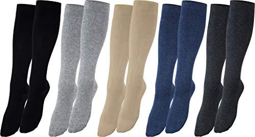 Vitasox 44450 Stützstrümpfe für Damen & Herren, Stützkniestrümpfe aus Baumwolle mit Kompression für Flug, Reise, Büro und Auto, Thrombose Socken gegen geschwollene Beine, 6 Paar schwarz 43/46