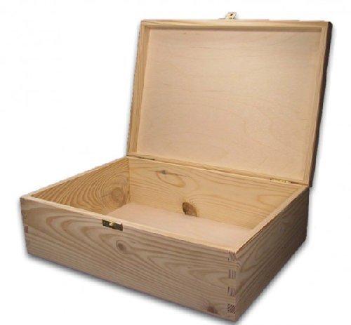 MidaCreativ große Holz-Schatulle, Holz-Kassette, Holzbox, geeignet für A4, Kiefer unbeh.