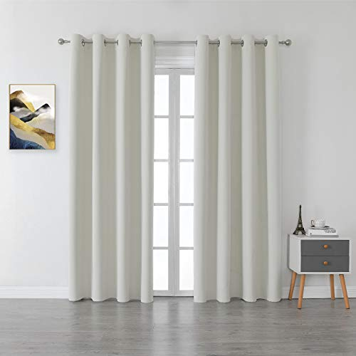 BERSWAY 100% Blackout Curtains & Drapes for Living Room 63 Inch Length,Modern Thermal Insulated Black Out Velvet Curtain for Bedroom , White,2 Panels, 63 Inches