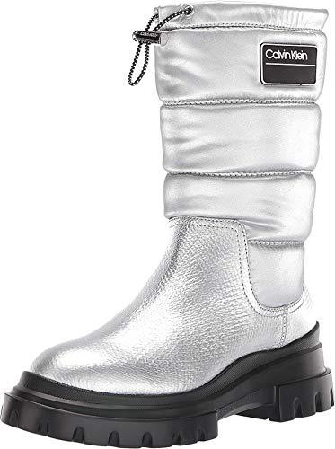 Calvin Klein Womens Laeton Mid-Calf Puffy Winter Boots Silver 6 Medium (B,M)
