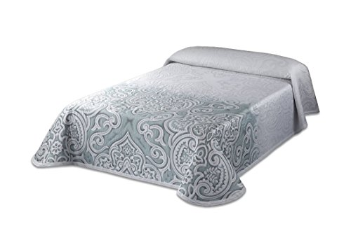 Textilia Picasso C/4 Couvre-lit piqué pour lit de 150, Polyester, Aigue-Marine, Queen, 270 x 250 x 3 cm