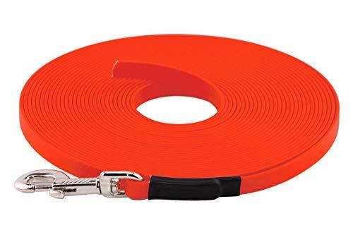 LENNIE BioThane Schleppleine, 13mm, Hunde 15-25kg, 5m lang, ohne Handschlaufe, Neon-Orange, genäht
