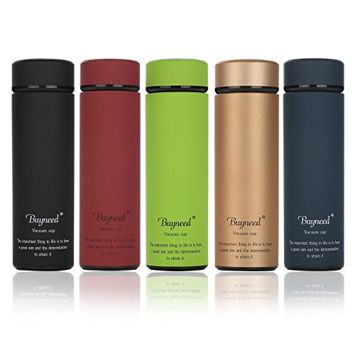 Double Wall Vacuum Insulated Travel Mug 16 oz-Stainless Steel Loose Leaf Tea Infuser with Strainer - Coffee Tumbler- Fruit and Juice Infused,Leak-Proof Cup Lid, Portable Water Bottle,Golden