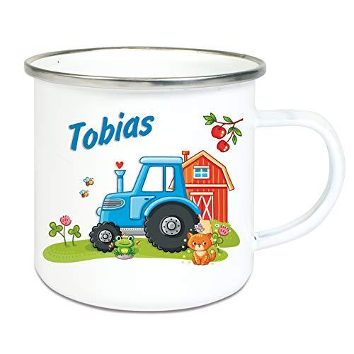 Werbetreff Gera Emaille Tasse Traktor mit Name, Campingbecher, Trinkbecher für Kinder und Erwachsene
