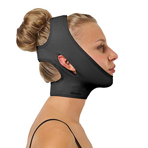 Post Surgical Chin Strap Bandage for Women - Neck and Chin Compression Garment Wrap - Face Slimmer, Jowl Tightening, Chin Lifting (Black, L)