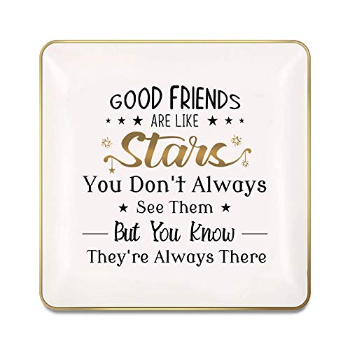Nordic Runes Good Friends Gifts Ring Dish, Small Ceramic Jewelry Tray Friend Birthday for Women Bestie BFF,Unique Gifts Decorative Trinket Ring Holder…