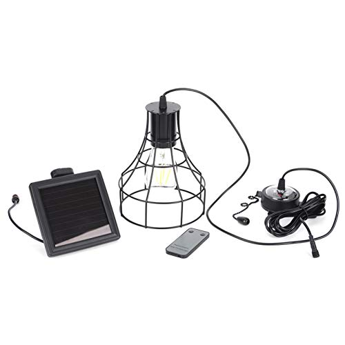 Kuuleyn Solar Remote Control Shed Light LED Hanging Rope Chandelier E27 Socket for Indoor Outdoor Decoration Warm Light,Solar Chandelier