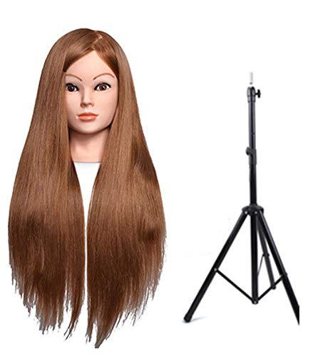 Coiffer Coiffure Femme Mannequin 80% Vrais Cheveux + Support + Accessoires Tête De Mannequin Femme Formation Beauté Maquillage Étudiant,Golda