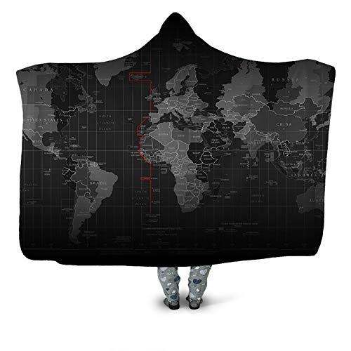 WYBY Personalisierte Kartendruck mit Kapuze Decke-riesige tragbare Decke Warmer und Nicht verblassender Mantel für Schlafzimmer/Wohnzimmer/Kinderzimmer geeignet 001-150 * 200cm