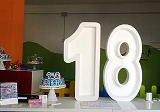 Maxi Lettera o Numero in Polistirolo personalizzato porta palloncini per compleanni o eventi da 100cm di altezza x 50cm di...