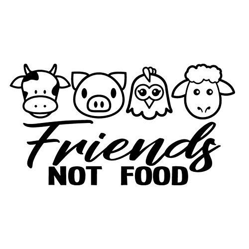 CSCH Car Stickers 15 * 8.3cm Vegan Friends Not Food Cow Chicken Pig Meat Lamb Decal Window Bumper Vinyl Car Wrap Stickers Car Decal Stickers