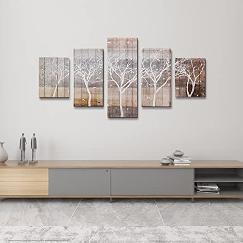 Autumn Painting On Canvas White Tree Silhouette On Wooden Background Wall Art