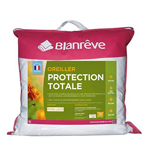 Blanrêve - Oreiller Protection Totale - anti acariens et antibactérienne - 65x65 cm