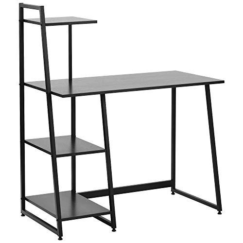 zcyg Mesa de trabajo para el hogar y la oficina con 4 estantes de almacenamiento para escritorio, mesa de estudio para estudiante con estantería, escritorio, mesa de ordenador portátil (color: negro)