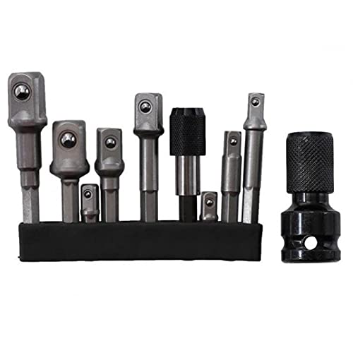 Conjunto de adaptadores de controlador de impacto, conjunto de impacto de socket de 1/4'3/8' 1/2'3/8', ajuste del controlador, adaptador de broca para el controlador de impacto 11pcs