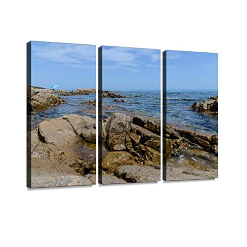 HABEN ARTWORK orosei Gulf in Sardinia Italy Moon Bay Pictures Print On Canvas Wall Artwork Modern Photography Home Decor Unique Pattern Stretched and Framed 3 Piece