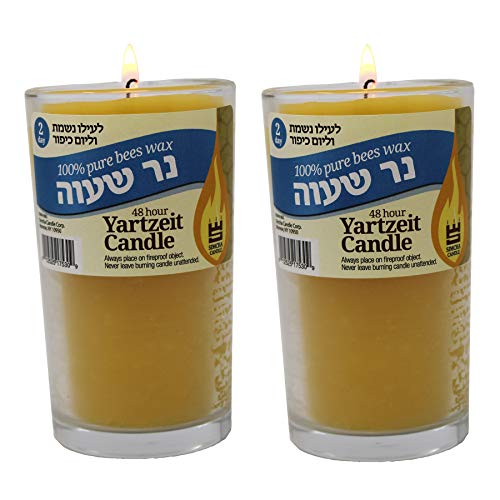 RAMBUE 2 Day 100% Pure Beeswax Memorial Candle Burning Time 48 Hour Jewish Yahrtzeit Ner Neshama Yom Kippur in Glass Tumbler Holder [2 Pack] Kosher yizkor Candles
