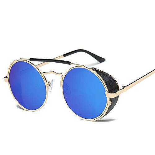 Gafas de sol retro europeas y americanas Gafas de sol de moda para mujer Gafas de sol redondas para hombre de moda Marco de metal-Marco dorado Tableta azul hielo