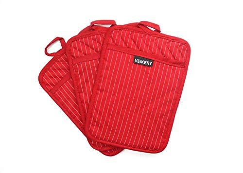 VEIKERY Oven Pot Holder with Pocket 100% Cotton Heat Resistant Coaster Potholder Kitchen Hot Pad...