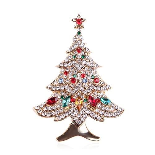 Weihnachtsdeko Brosche, Kreatives Geschenk, Anzug Accessoires, Corsage Schmuck für Weihnachtsfrauen, Europäische und Amerikanische Retro Diamantbesetzte BaumnadelWeihnachtsnachtdekorationenDauerhaft