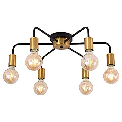 Vintage Metal Sputnik Chandelier 6-Light Flush Mount Light Fixtures Ceiling Indoor Industrial Chandelier Lighting E26 Lamps Applicable: Living Room Study Dining Room Kitchen Bedroom